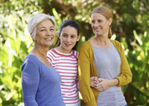 Shot of three generations of family women standing outdoors